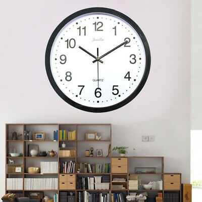"Black Wall Clock, Quartz Battery Operated 14"" Round Home/Office/School Clock"