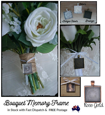 Bouquet Memory Frame Charm Photo Bride Wedding Flower Silver Gold Square AUSELER
