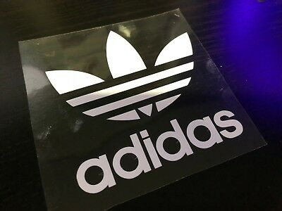 Adidas Trefoil Logo Iron On/heat Press Diy Clothing Transfer 8.5 X 8.5 Cm White