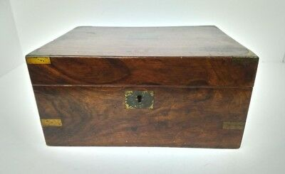 Antique Victorian 19Th Century Walnut Writing Slope Box With Ink Well & Pen