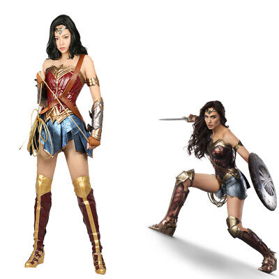 Wonder Woman Cosplay Costume Leather Dress Skirt Props Halloween Party Full Set