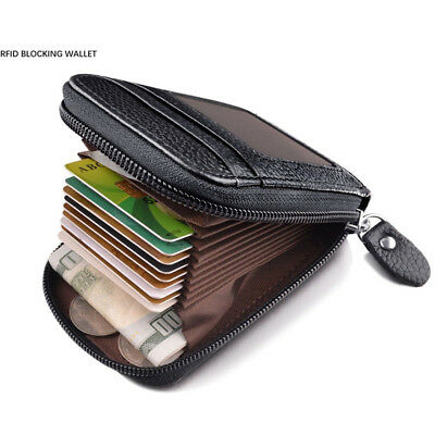 Men's Genuine Leather Zipper Wallet Pocket ID/Credit Card Holder Mini Coin Purse