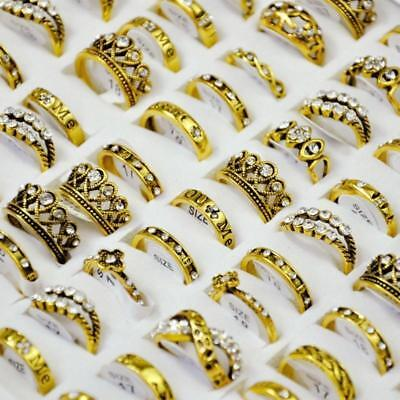 50Pcs Vintage Mixed Pattern Ancient Golden plated Women's Rings Lots Jewelry DFP