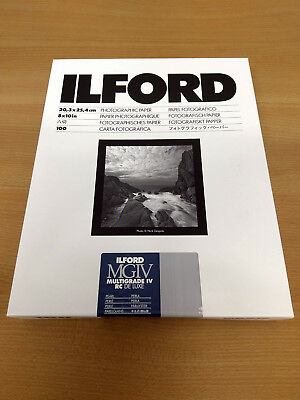 "Ilford Multigrade IV RC De Luxe Pearl Black & White 10x8"" Paper 100 sheet - 2017"