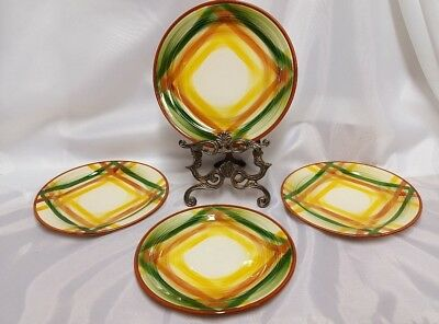 Vernonware Homespun Hand Painted Lunch Plates Lot of 4