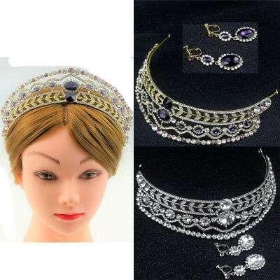 Baroque Wedding Bride Crystal Queen Gold Silver Crown Tiara Earrings Jewelry Set