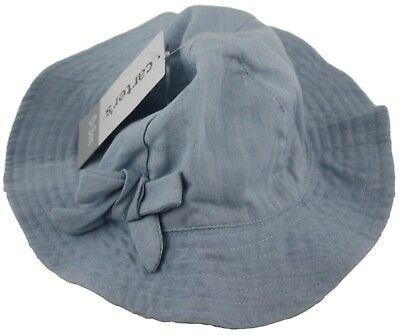 Carters Baby Girl Light Blue Denim Hat Chin Strap Size 0-3 Months Accessories