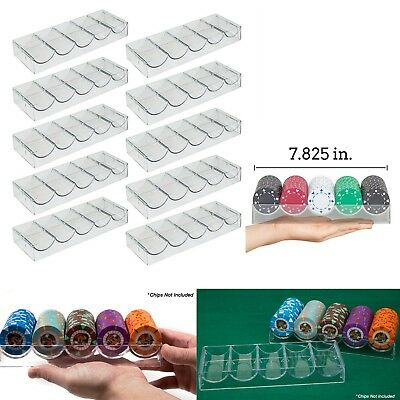 10 Pcs Casino Poker Chip Tray Set 4 Row Clear Plastic Stackable Storage Holder