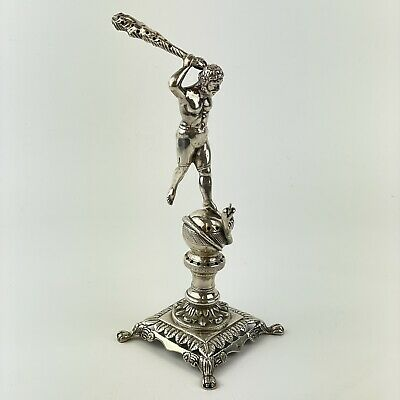 Antique Solid Silver (Tested) Hercules Killing Hydra Club Cocktail Stick Holder