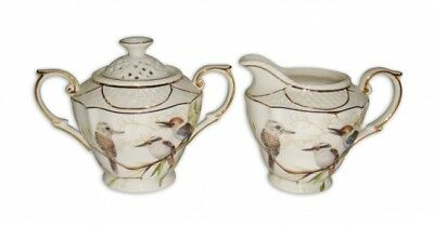 Kookaburra Bird Sugar and Milk Pot Set Fine Bone China Chinaware Teaset Box