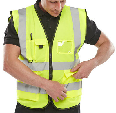 B-Seen High Visibility PPE Safety Vest Hi-Viz Waistcoat Security Police Jacket
