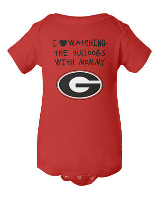 Georgia Bulldogs I Love Watching With Mommy Baby Short Sleeve Bodysuit
