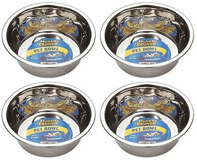 4 x Munch & Crunch Large Stainless Steel Dog Pet Feeding Food Drinking Bowl