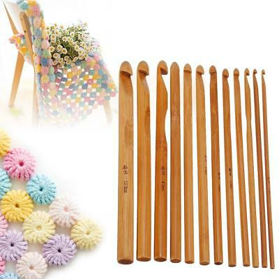 12Pcs/Set Bamboo Wooden Crochet Hooks Weave Yarn Craft Knitting Needles 3mm-10mm