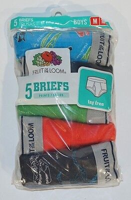 New 5 Pack Fruit Of The Loom M - 10 / 12 Assorted Boys Briefs 5P46BPS103M