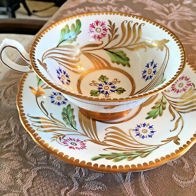 Royal Chelsea Teacup and Saucer 228 A Gold White Floral