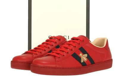 e88480a903b New Gucci Ace Men s Red Leather Web Bee Logo Sneakers Low Top Shoes 9 G