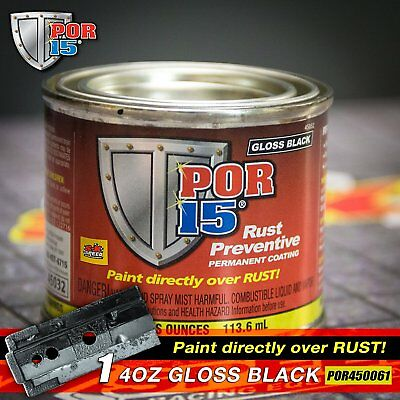 POR 15 4Oz Can Gloss Black Rust Preventative Paint - Paint Over Rust, Single Can