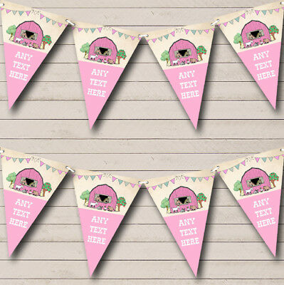Farm Animals Pink Girls Personalised Baby Shower Bunting