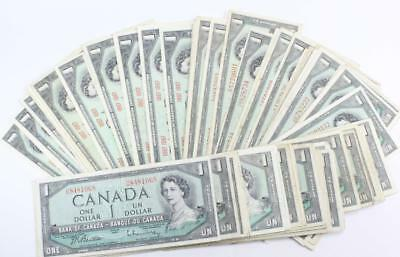 100x Bank of Canada $1 dollar bank notes 77 x 1954 and 23 x 1867-1967 VG-VF+
