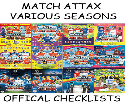Match Attax Checklists. Official Inserts From Binders / Folders 14 15 16 17 18