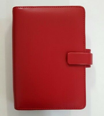 FF8# Filofax Metropol Personal Organiser Red LeatherLook With Week On Two Diary