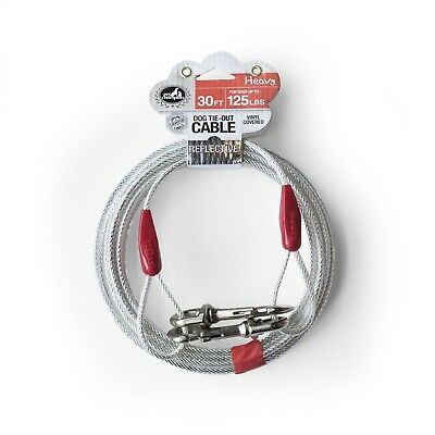 25ft Heavy Duty Extra-Large Dog Out Cable Pet Tie Steel Reflective Leashes Run