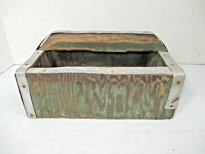 Vintage Small Wooden & Metal Hand Made Tool Box Carrying Box Gardening Decor