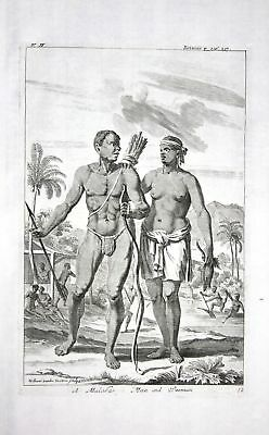 1730 Malabar India Indien people natives Kupferstich engraving Churchill