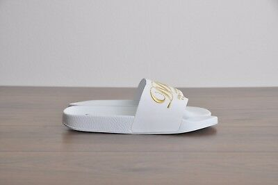 16489f6d8a91 DOLCE   GABBANA  395 White Rubber Slides With D G Embroidery On Leather Band
