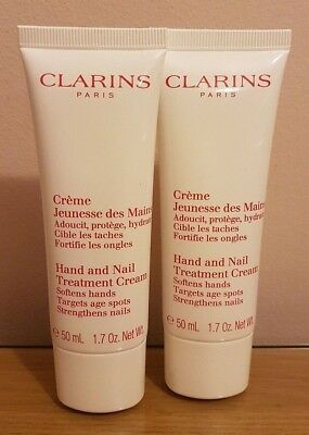 BRAND NEW 2 x 50ml (100ml) CLARINS HAND AND NAIL TREATMENT CREAM **ONLY £11.25**