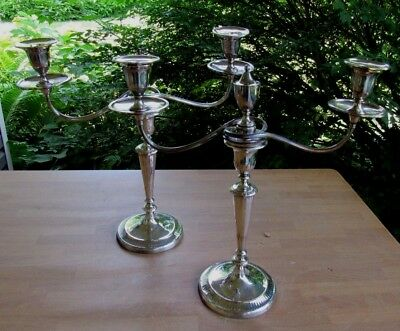 Pair Of Old Sheffield Plate Silverplate 19th C Candelabras Candlesticks
