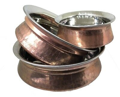 Authentic Traditional Indian Handi Hammered Copper Curry Balti Dish Bowl Pot UK