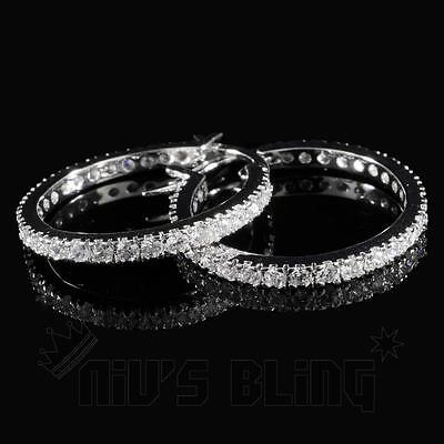 18K White Gold ICED OUT Simulated Diamond Micropave Huggie Hoop HipHop Earring