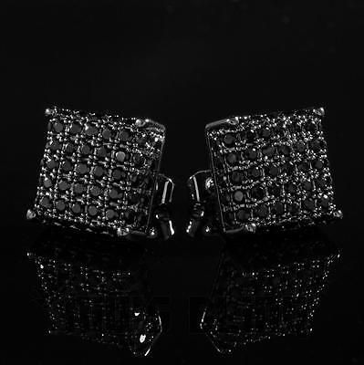 18k Black Gold Out ICED AAA Lab Diamond Micropave Square Stud Hip Hop Earring 8M