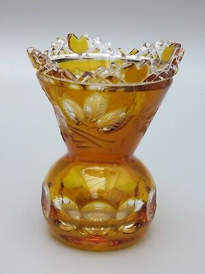 """Meissen Crystal Cut To Clear Flower With London Amber Vase - 4 1/2"""" High -Signed"""