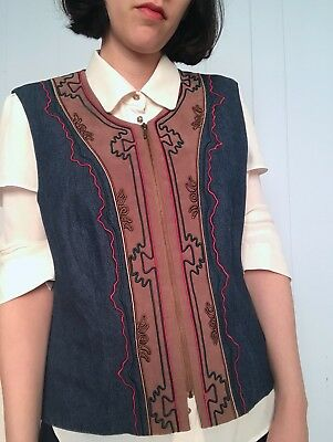 Sharon Young Vest Denim Jean Western Cowgirl Small S Medium M