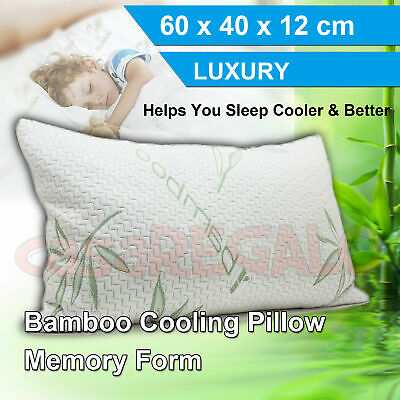 1 set Luxury Bamboo Pillow Anti Bacterial Memory Foam Fabric Cover 60x40cm
