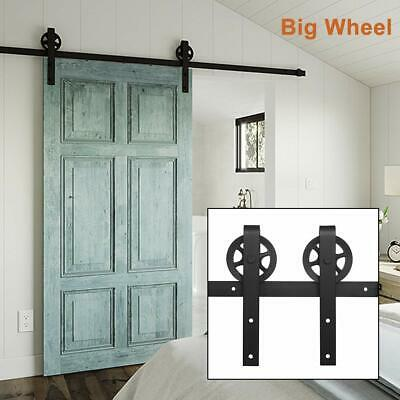 6.6FT Steel Sliding Barn Door Hardware Track System Rail Kit BigWheel DoorHandle