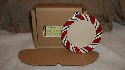 NEW Longaberger pottery Peppermint Twist Coasters set of 4
