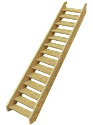 EziStep Pine Wooden Timber Stair 14 Step Kit External Outside