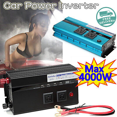 4000W WATT Peak Car LED Power Inverter DC 12V to AC 110V Dual Converter Charger