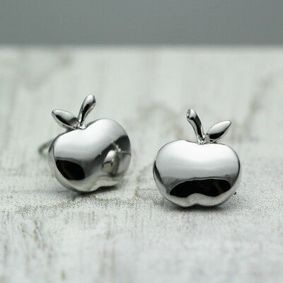 Women Girls 18K White Gold Plated Cute Apple Stud Earrings Jewelry