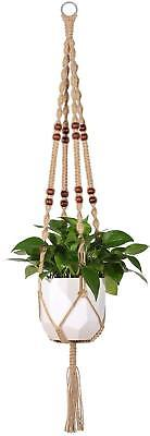 Macrame Plant Hanger Indoor Outdoor Hanging Basket Planter Jute Rope Beads 48""