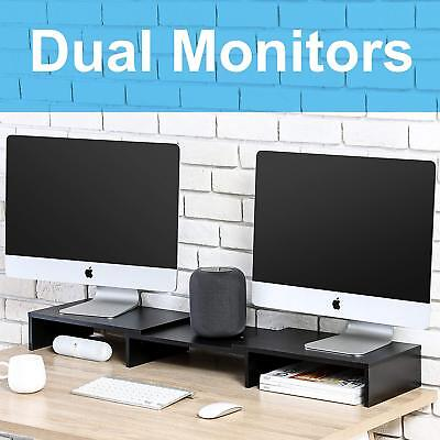 FITUEYES 3 Shelf Monitor Stand Riser with Adjustable Length and Angle TV Riser