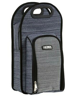 THERMOS Picnic 2 Bottle Wine Cooler Bag Natural AUTHENTIC Insulated