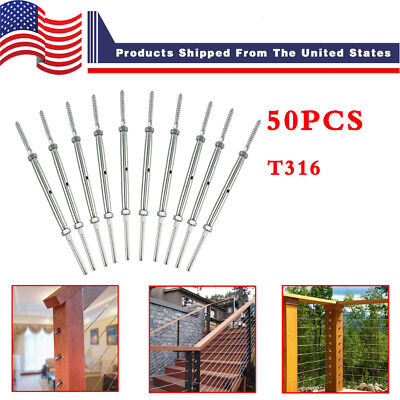 """50x T316 Stainless Steel Silver Hand Swage Tensioner w/ Lag Screw for 1/8"""" Cable"""