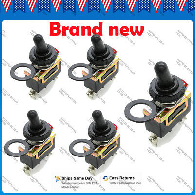5X SPST 2Pin Car Boat 20A 15A 250V ON/OFF Rocker Toggle Switch Waterproof Boot