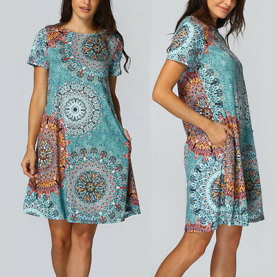 Womens Colorful Floral Short Sleeve Vintage Boho Maxi Evening Party Beach Dress