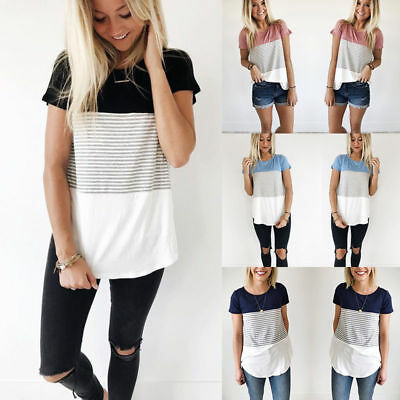 Women Celeb Designer Inspired Casual Loose Tops Ladies T-Shirt Slogan Stripe Tee
